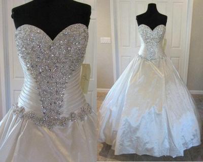 Newest Beads Sweetheart Wedding Dress High Quality Sleeveless Sweep Train_4