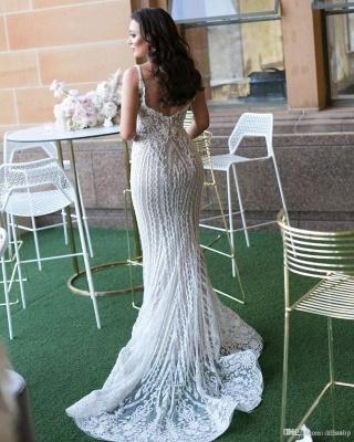 Gorgeous Lace Sexy Mermaid Wedding Dresses UK Cheap with Detachable Train Straps Sleeveless Bride Dress_3