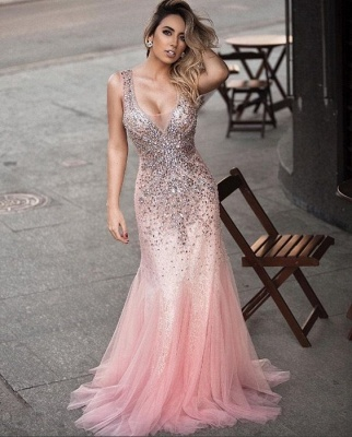 Luxurious Sleeveless Evening Dress UK Pink Mermaid Party Gown WIth Crystals_1
