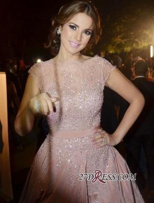 Pink Cap-Sleeve Charming Designer Diamonds Evening Dress UK_4