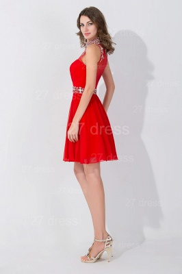 Sexy Sleeveless Red Chiffon homecoming Dress UK High Neck With Beadings Crystals_3