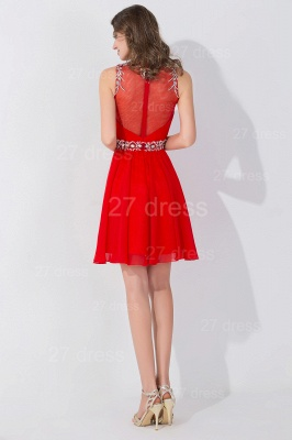 Sexy Sleeveless Red Chiffon homecoming Dress UK High Neck With Beadings Crystals_5