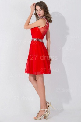 Sexy Sleeveless Red Chiffon homecoming Dress UK High Neck With Beadings Crystals_4