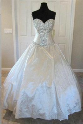 Newest Beads Sweetheart Wedding Dress High Quality Sleeveless Sweep Train_1