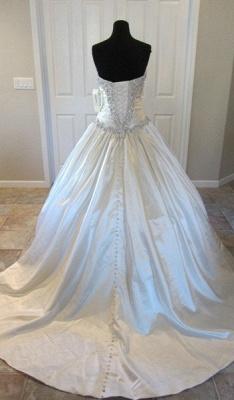Newest Beads Sweetheart Wedding Dress High Quality Sleeveless Sweep Train_3