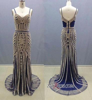Spaghetti-Straps Crystal Zipper Mermaid Gorgeous Prom Dress UK_2