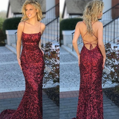 Elegant Spaghetti-Straps Sequins Evening Dress UK | 2019 Mermaid Prom Dress UK_4