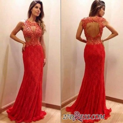 Newest Sleeveless Mermaid Lace-Appliques Sweep-Train Prom Dress UK_1