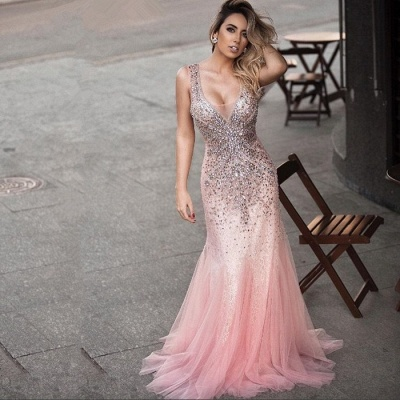 Luxurious Sleeveless Evening Dress UK Pink Mermaid Party Gown WIth Crystals_3
