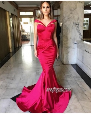 Sweep-Train Mermaid Off-the-Shoulder Sleeveless Elegant Prom Dress UKes UK_1