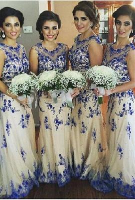 Newest Lace Appliques Illusion Bridesmaid Dress UK Sweep Train_1