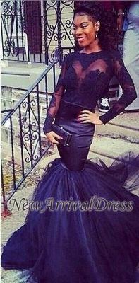 Puffy Mermaid Lace Long-Sleeve Tulle Sheer Prom Dress UKes UK BK0_2