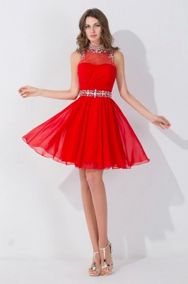 Sexy Sleeveless Red Chiffon homecoming Dress UK High Neck With Beadings Crystals_1
