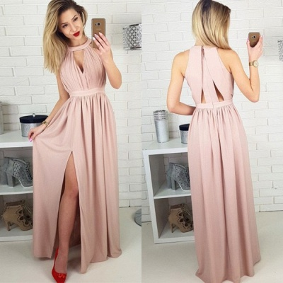 Sexy Sleeveless Prom Dress UK | Long Chiffon Evening Gowns With Slit BA9622_3