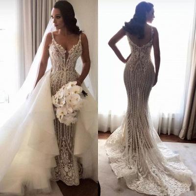 Gorgeous Lace Sexy Mermaid Wedding Dresses UK Cheap with Detachable Train Straps Sleeveless Bride Dress_4