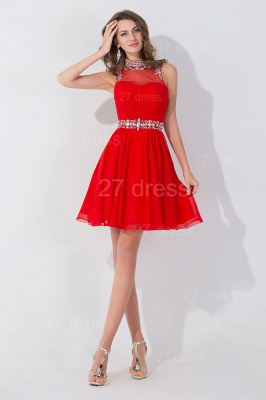 Sexy Sleeveless Red Chiffon homecoming Dress UK High Neck With Beadings Crystals_2