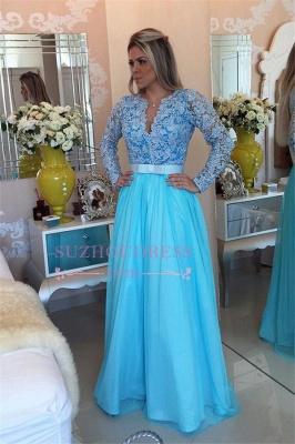 Long Sleeve Lace Evening Dress UK V-neck Blue Chiffon Prom Dress UK_1