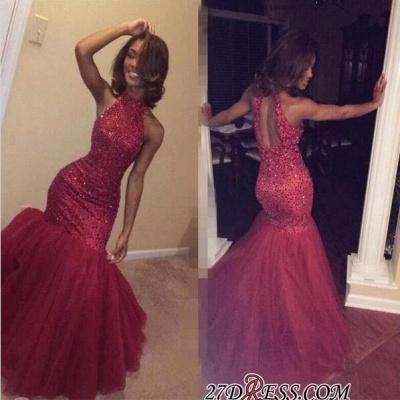 Elegant Sleeveless Halter Sparkly Mermaid Beading Tulle Sequined Open-Back Prom Dress UK BK0_1