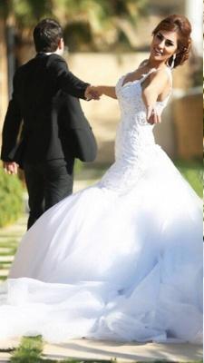 Delicate V-neck Sexy Mermaid Tulle Wedding Dress Long Train_1