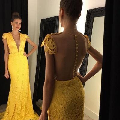 Modern Yellow V-neck Prom Dress UK Cap Sleeve Lace AP0_2