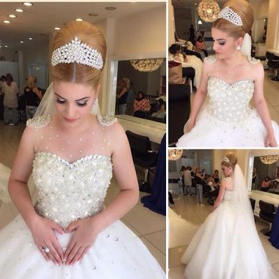 Elegant Beads Tulle Wedding Dress Ball Gown Floor-length MH052_3
