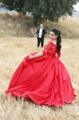 Modern Half Sleeve Red Wedding Dress Lace Sweep Train_2