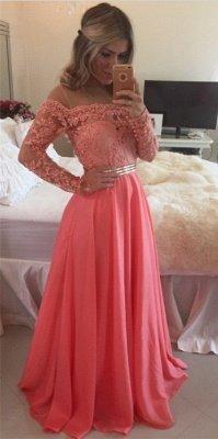 Sexy A-line Long Sleeve Chiffon Prom Dress UK Crysal Lace Appliques Floor-length Evening Dress UK_3
