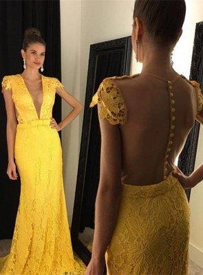 Modern Yellow V-neck Prom Dress UK Cap Sleeve Lace AP0_1