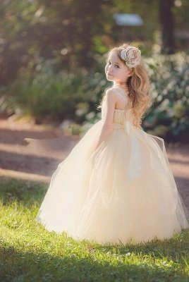 Lovely Sleeveless Tulle Girls Pageant Dress With Flower_2