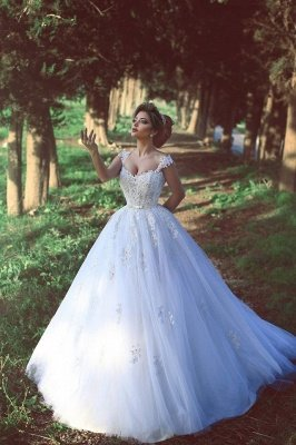 Straps Beads Lace-Appliques Ball-Gown Amazing White Wedding Dresses UK_1
