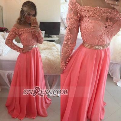 Sexy A-line Long Sleeve Chiffon Prom Dress UK Crysal Lace Appliques Floor-length Evening Dress UK_2