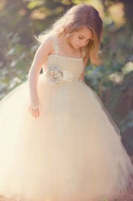 Lovely Sleeveless Tulle Girls Pageant Dress With Flower_1
