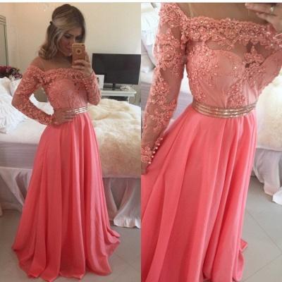 Sexy A-line Long Sleeve Chiffon Prom Dress UK Crysal Lace Appliques Floor-length Evening Dress UK_4