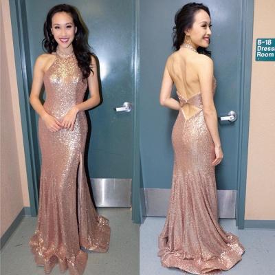 Sequins High-Neck Evening Dress UK | Split Formal Dress UK With Slit_3