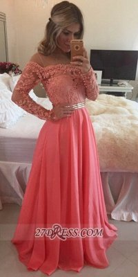 Sexy A-line Long Sleeve Chiffon Prom Dress UK Crysal Lace Appliques Floor-length Evening Dress UK_1