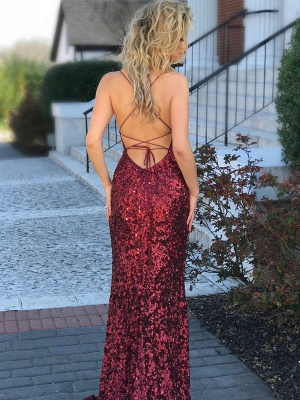 Elegant Spaghetti-Straps Sequins Evening Dress UK | 2019 Mermaid Prom Dress UK_3