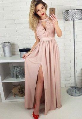 Sexy Sleeveless Prom Dress UK | Long Chiffon Evening Gowns With Slit BA9622_1