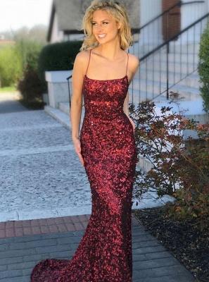 Elegant Spaghetti-Straps Sequins Evening Dress UK | 2019 Mermaid Prom Dress UK_1