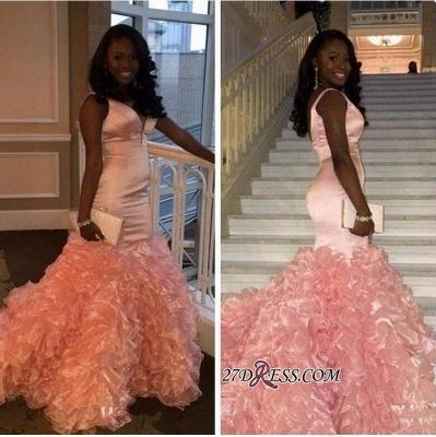 Mermaid V-neck Pink Ruffles Gorgeous Sleeveless Prom Dress UK BK0_1