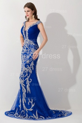 Modern Lace Appliques Mermaid Evening Dress UK V-neck Sweep Train_2