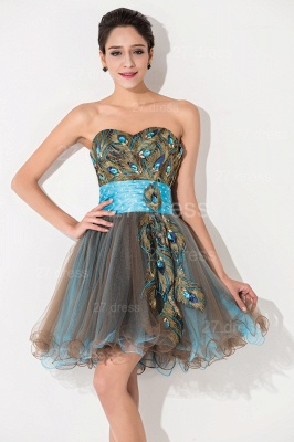 Modern Sweetheart Sleeveless Tulle Homecoming Dress UK With Peacock Beadings Crystals_2