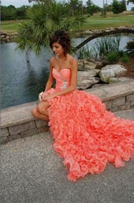 Modern Sweetheart Sleeveless Hi-Lo Prom Dress UK Beadings Lace-up Ruffles Evening Gown_5
