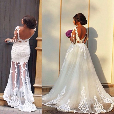 Delicate Tulle Lace Appliques Detached Wedding Dress Long Sleeve MH053_2