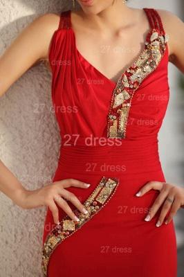 Elegant Red V-Neck Prom Gowns Ruffles Sweep Train Evening Dress UKes UK with Beadings_2