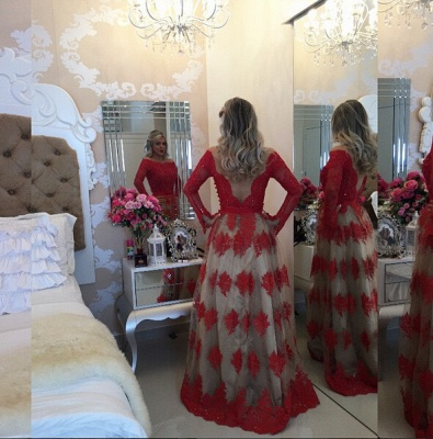 Modern Off-the-shoulder Red Prom Dress UK Lace Long Sleeve BA8928_2