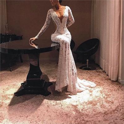 Modern Lace Long Sleeve V-neck Evening Gown   Evening Dress UK_3
