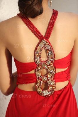Elegant Red V-Neck Prom Gowns Ruffles Sweep Train Evening Dress UKes UK with Beadings_3