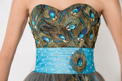 Modern Sweetheart Sleeveless Tulle Homecoming Dress UK With Peacock Beadings Crystals_3