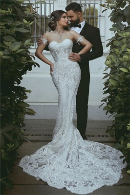 Sexy Mermaid Lace Wedding Dress Cheap Court Train Sweetheart Bridal Gowns with Sleeve Decorations_1