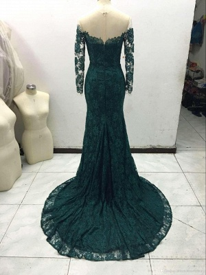 Luxury Off-the-Shoulder Long Sleeve Mermaid Prom Dress UK Lace Sweep Train_4